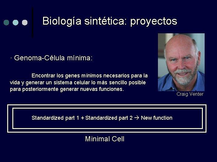 Biología sintética: proyectos · Genoma-Célula mínima: Encontrar los genes mínimos necesarios para la vida