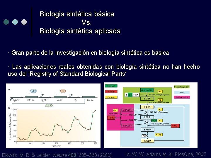 Biologia sintética básica Vs. Biología sintética aplicada · Gran parte de la investigación en