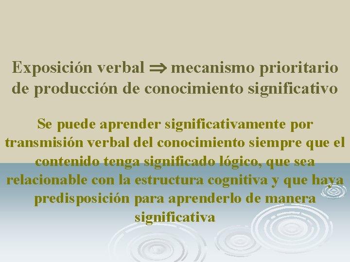 Exposición verbal mecanismo prioritario de producción de conocimiento significativo Se puede aprender significativamente por