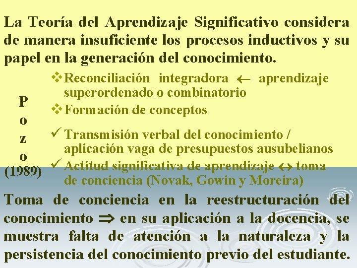 La Teoría del Aprendizaje Significativo considera de manera insuficiente los procesos inductivos y su