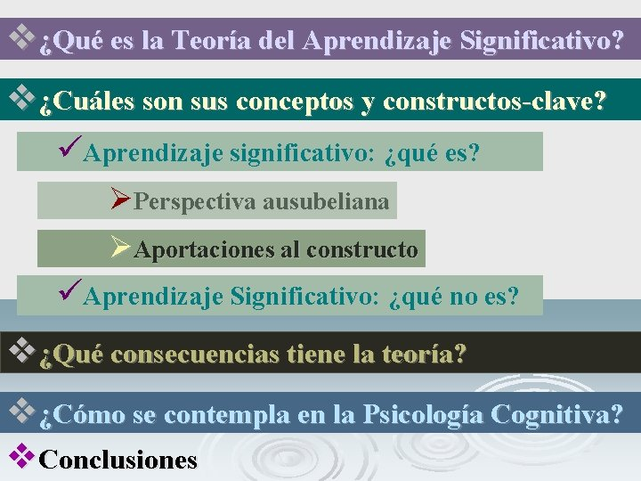 v¿Qué es la Teoría del Aprendizaje Significativo? v¿Cuáles son sus conceptos y constructos-clave? üAprendizaje