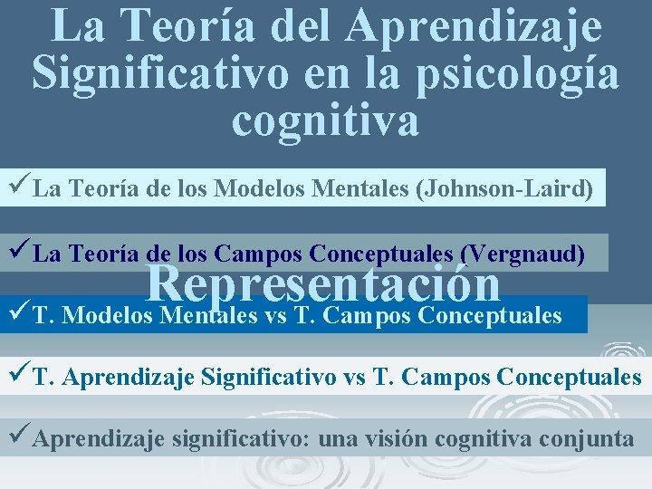 La Teoría del Aprendizaje Significativo en la psicología cognitiva üLa Teoría de los Modelos