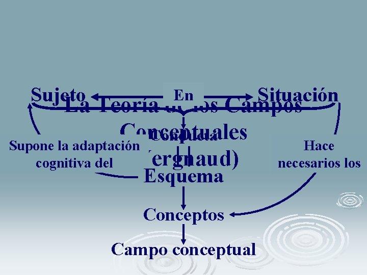 Sujeto En Situación La Teoría de los Campos Conceptuales Conducta Supone la adaptación Hace