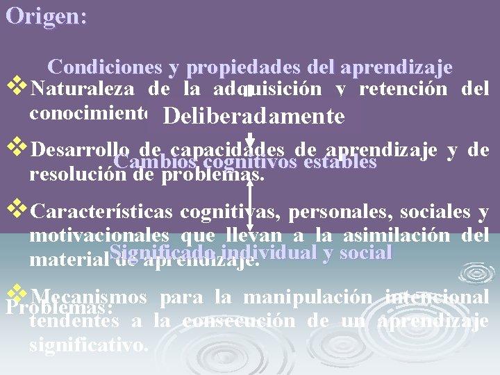 Origen: Condiciones y propiedades del aprendizaje v. Naturaleza de la adquisición y retención del