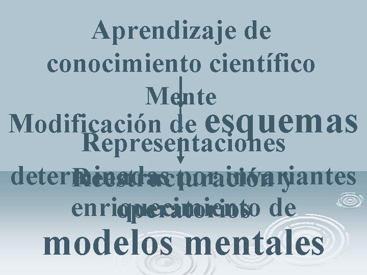 Aprendizaje de conocimiento científico Mente Modificación de esquemas Representaciones determinadas por invariantes Reestructuración y