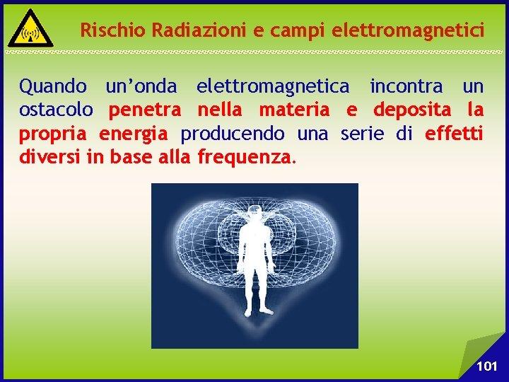Rischio Radiazioni e campi elettromagnetici Quando un'onda elettromagnetica incontra un ostacolo penetra nella materia