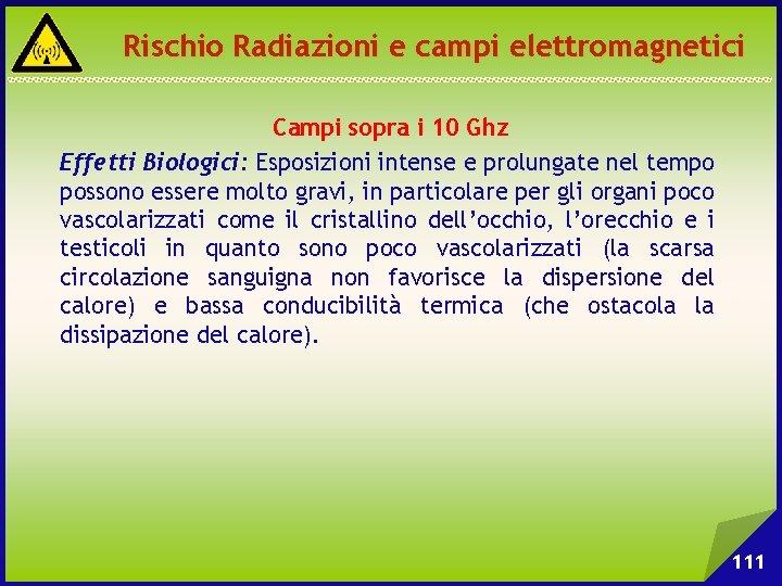 Rischio Radiazioni e campi elettromagnetici Campi sopra i 10 Ghz Effetti Biologici: Esposizioni intense