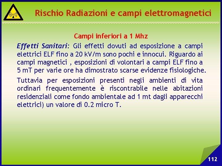 Rischio Radiazioni e campi elettromagnetici Campi inferiori a 1 Mhz Effetti Sanitari: Gli effetti