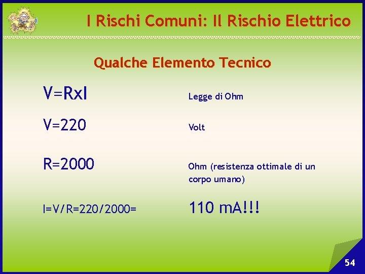 I Rischi Comuni: Il Rischio Elettrico Qualche Elemento Tecnico V=Rx. I Legge di Ohm