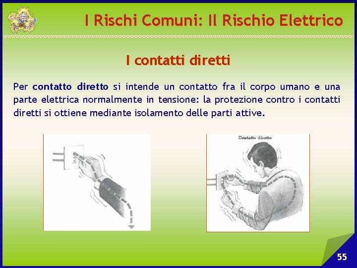 I Rischi Comuni: Il Rischio Elettrico I contatti diretti Per contatto diretto si intende