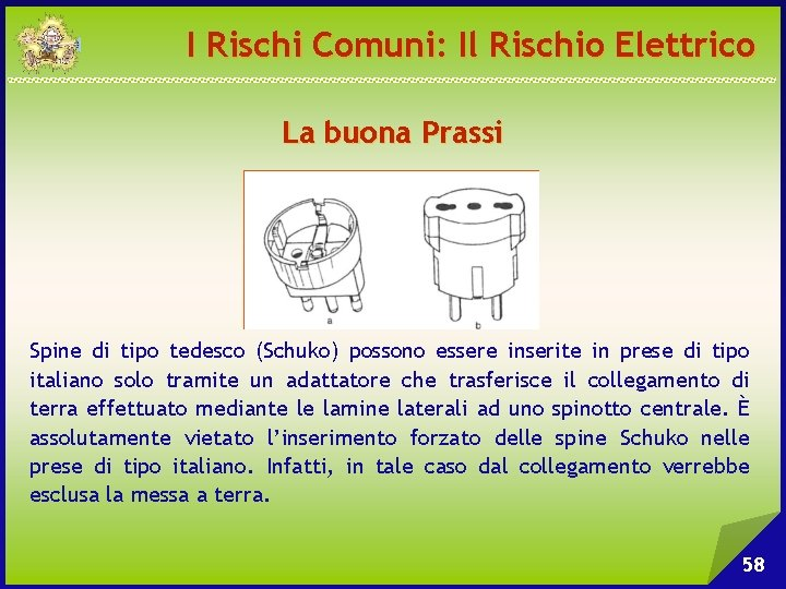 I Rischi Comuni: Il Rischio Elettrico La buona Prassi Spine di tipo tedesco (Schuko)