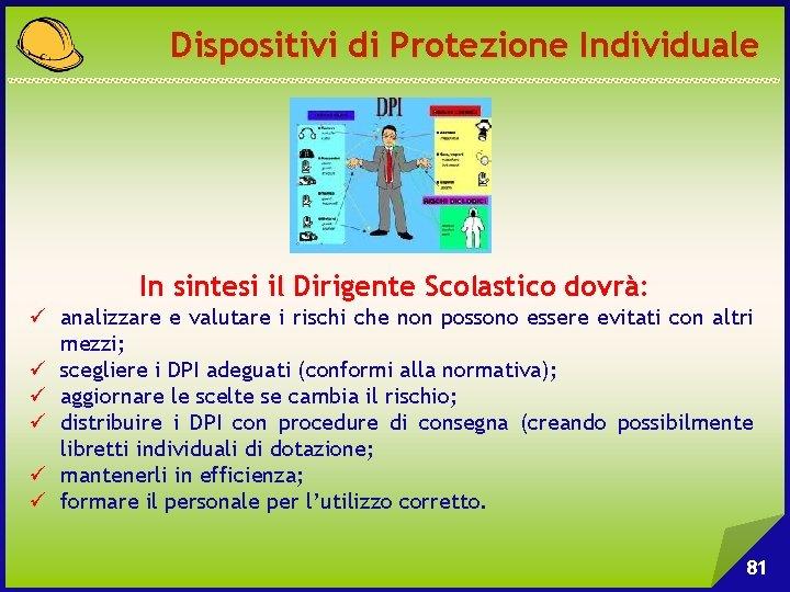 Dispositivi di Protezione Individuale In sintesi il Dirigente Scolastico dovrà: ü analizzare e valutare