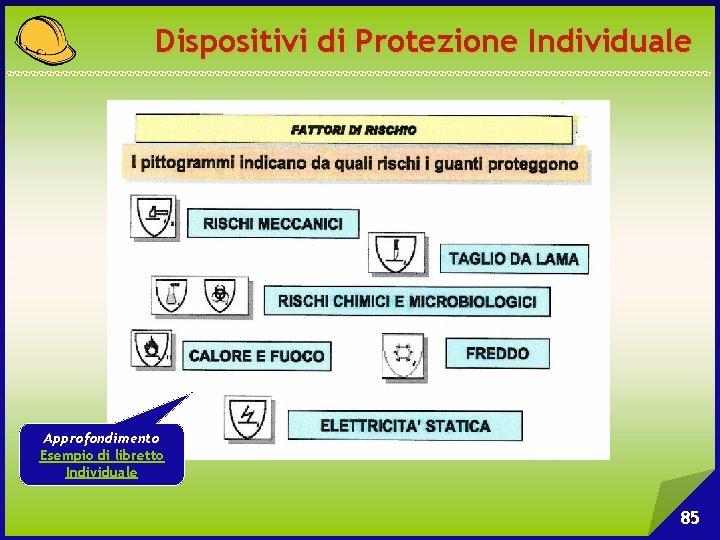 Dispositivi di Protezione Individuale Approfondimento Esempio di libretto Individuale 85