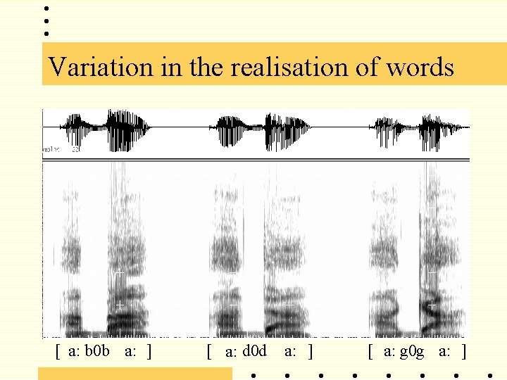 Variation in the realisation of words [ a: b 0 b a: ] [