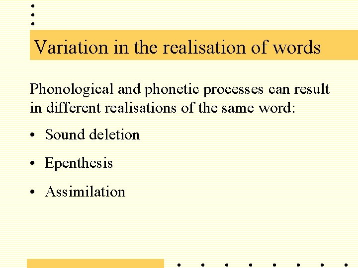 Variation in the realisation of words Phonological and phonetic processes can result in different