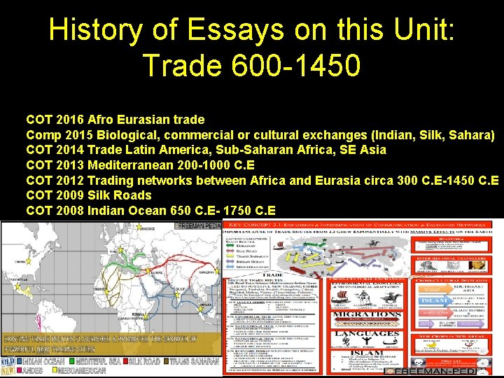 History of Essays on this Unit: Trade 600 -1450 COT 2016 Afro Eurasian trade