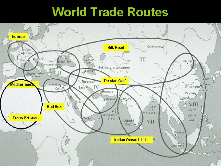 World Trade Routes Europe Silk Road Persian Gulf Mediterranean Red Sea Trans-Saharan Indian Ocean
