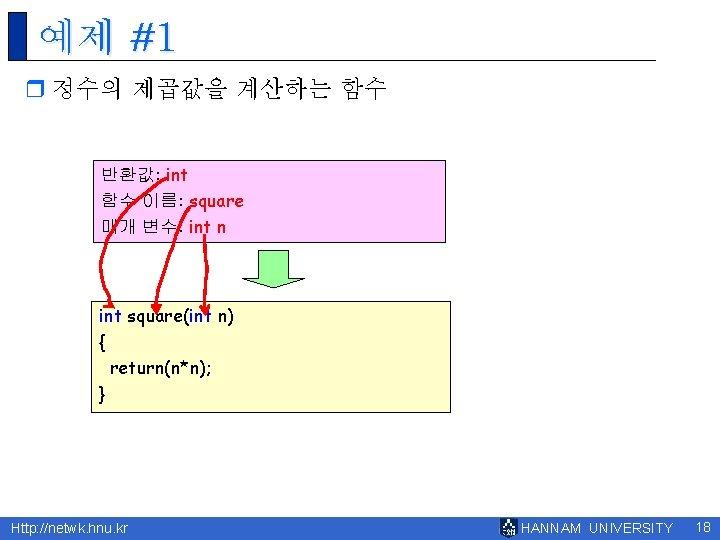 예제 #1 r 정수의 제곱값을 계산하는 함수 반환값: int 함수 이름: square 매개 변수: