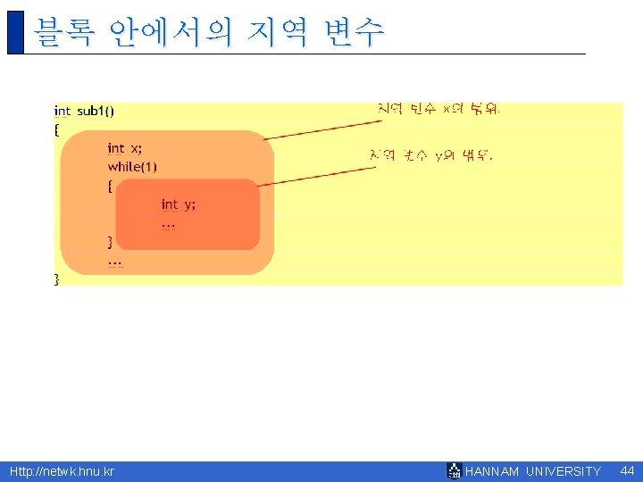 블록 안에서의 지역 변수 Http: //netwk. hnu. kr HANNAM UNIVERSITY 44