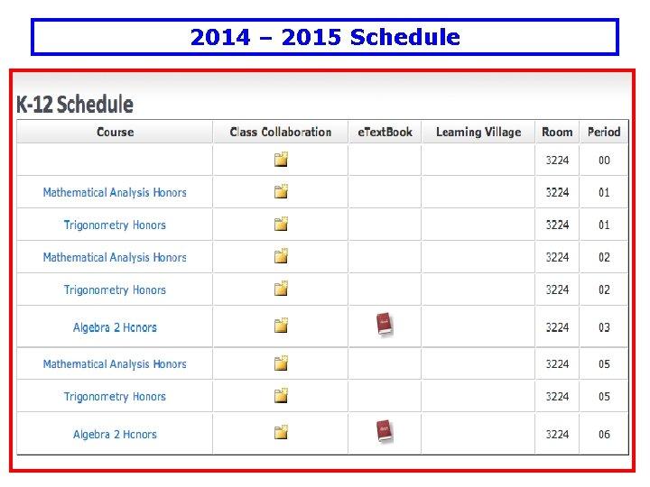 2014 – 2015 Schedule
