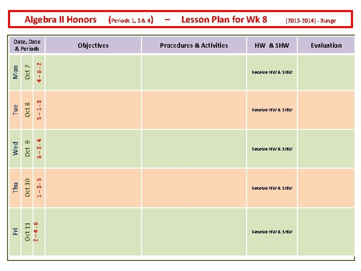 Algebra II Honors Lesson Plan for Wk 8 Oct 7 4– 6 -2 Oct