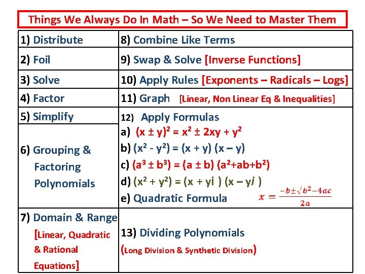 Things We Always Do In Math – So We Need to Master Them 1)