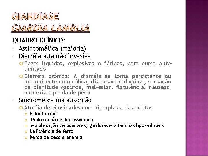 QUADRO CLÍNICO: Assintomática (maioria) Diarréia alta não invasiva Fezes líquidas, explosivas e fétidas, com