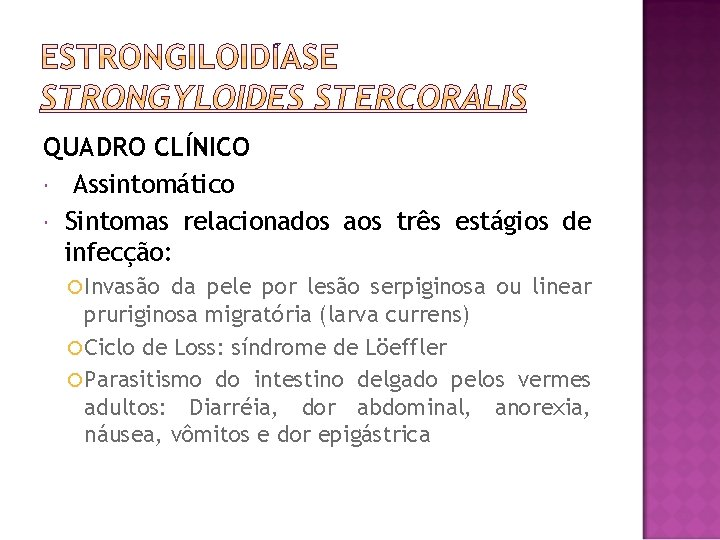 QUADRO CLÍNICO Assintomático Sintomas relacionados aos três estágios de infecção: Invasão da pele por