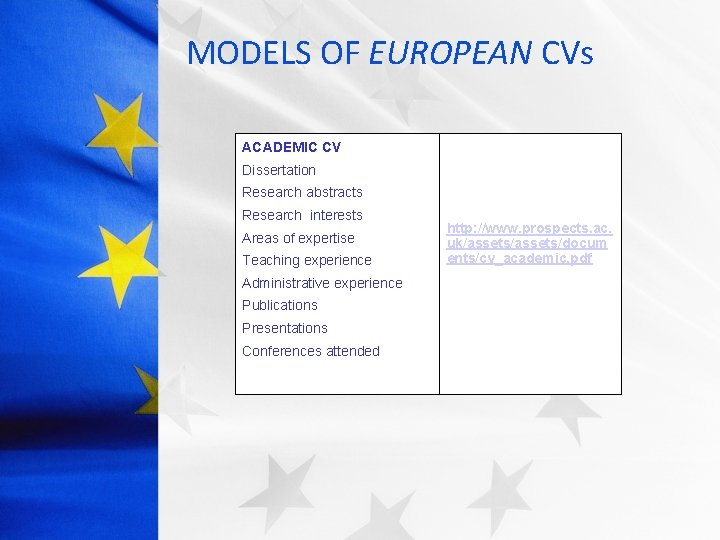 MODELS OF EUROPEAN CVs ACADEMIC CV Dissertation Research abstracts Research interests Areas of expertise