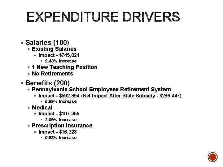 § Salaries (100) § Existing Salaries § Impact - $745, 021 § 2. 43%