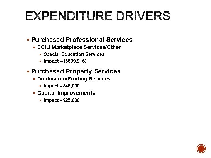 § Purchased Professional Services § CCIU Marketplace Services/Other § Special Education Services § Impact