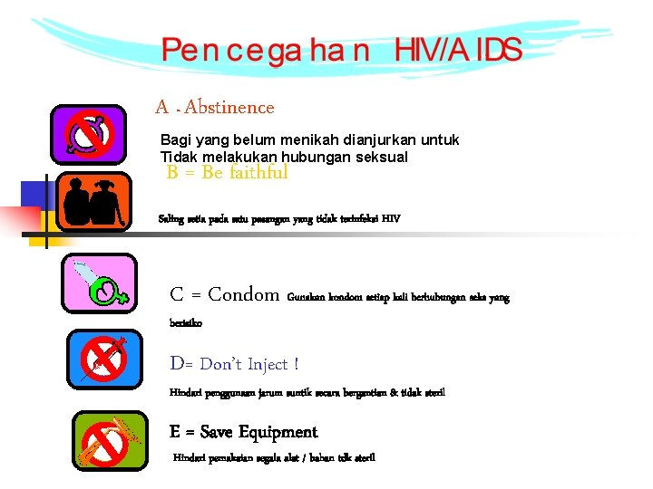 A = Abstinence Bagi yang belum menikah dianjurkan untuk Tidak melakukan hubungan seksual B