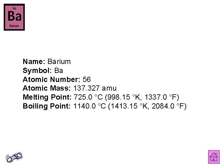 Barium atomic mass number