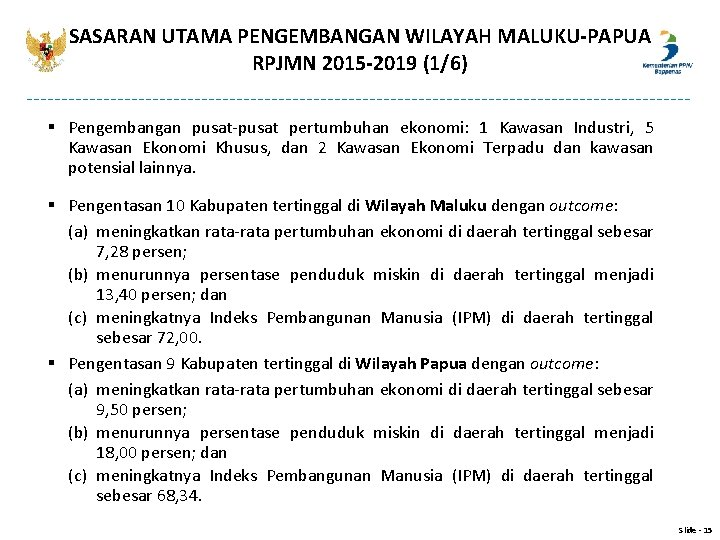 SASARAN UTAMA PENGEMBANGAN WILAYAH MALUKU-PAPUA RPJMN 2015 -2019 (1/6) § Pengembangan pusat-pusat pertumbuhan ekonomi: