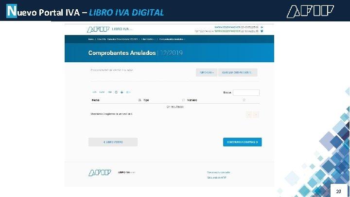 Nuevo Portal IVA – LIBRO IVA DIGITAL 20