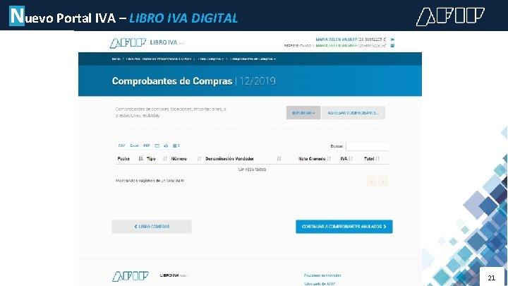 Nuevo Portal IVA – LIBRO IVA DIGITAL 21