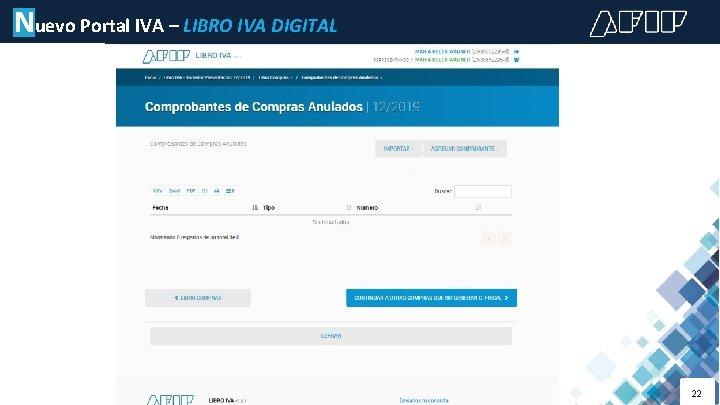Nuevo Portal IVA – LIBRO IVA DIGITAL 22