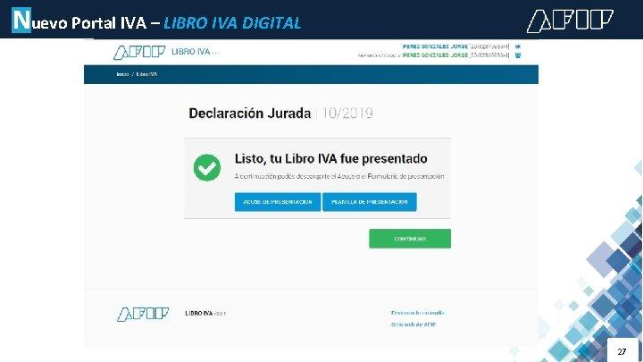 Nuevo Portal IVA – LIBRO IVA DIGITAL 27