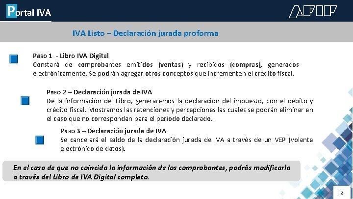 Portal IVA LIBRO DE IVA DIGITAL IVA Listo – Declaración jurada proforma Paso 1