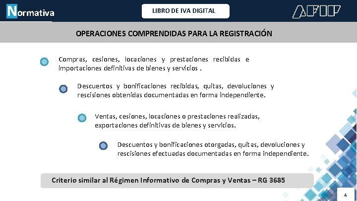 Normativa LIBRO DE IVA DIGITAL OPERACIONES COMPRENDIDAS PARA LA REGISTRACIÓN Compras, cesiones, locaciones y