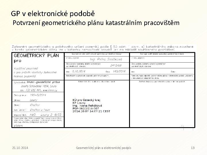 GP v elektronické podobě Potvrzení geometrického plánu katastrálním pracovištěm 21. 10. 2014 Geometrický plán