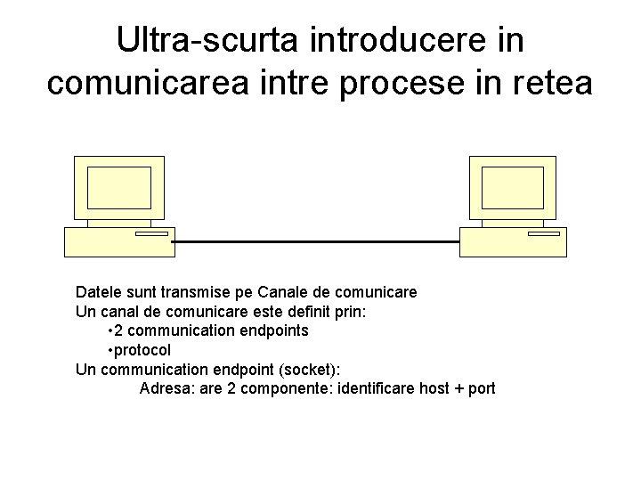 Ultra-scurta introducere in comunicarea intre procese in retea Datele sunt transmise pe Canale de