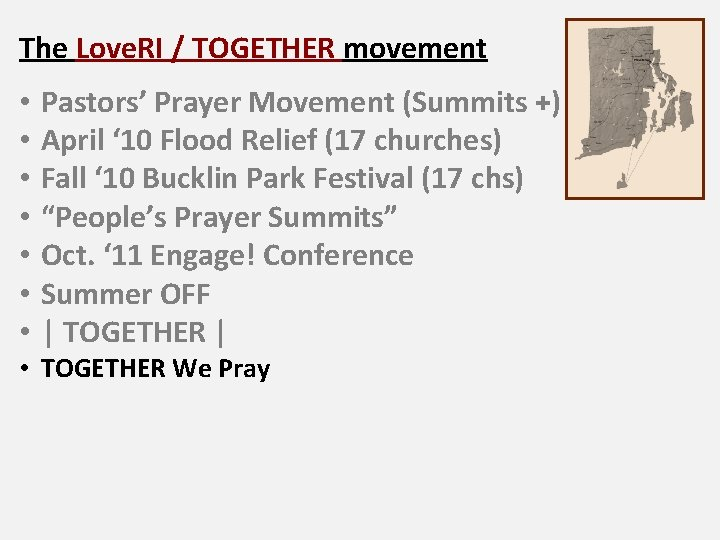 The Love. RI / TOGETHER movement • • Pastors' Prayer Movement (Summits +) April