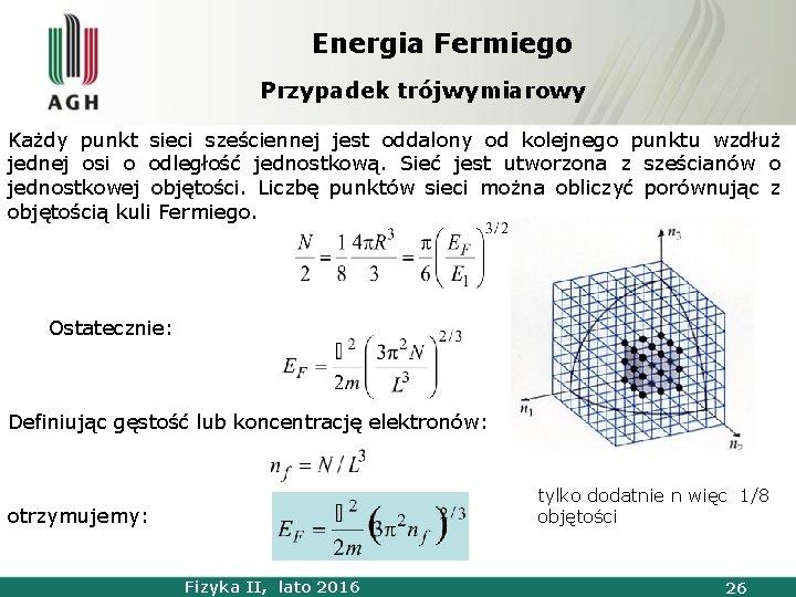 Energia Fermiego Przypadek trójwymiarowy Każdy punkt sieci sześciennej jest oddalony od kolejnego punktu wzdłuż