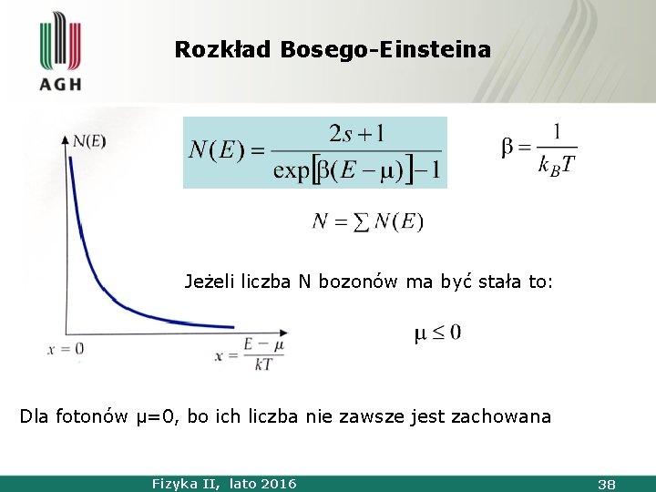 Rozkład Bosego-Einsteina Jeżeli liczba N bozonów ma być stała to: Dla fotonów μ=0, bo