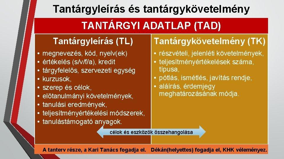 Tantárgyleírás és tantárgykövetelmény TANTÁRGYI ADATLAP (TAD) • • • Tantárgyleírás (TL) Tantárgykövetelmény (TK) megnevezés,