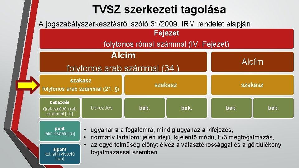 TVSZ szerkezeti tagolása A jogszabályszerkesztésről szóló 61/2009. IRM rendelet alapján Fejezet folytonos római számmal
