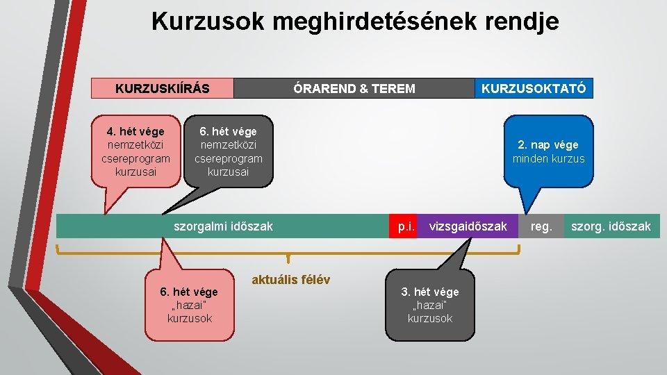 Kurzusok meghirdetésének rendje KURZUSKIÍRÁS 4. hét vége nemzetközi csereprogram kurzusai ÓRAREND & TEREM KURZUSOKTATÓ
