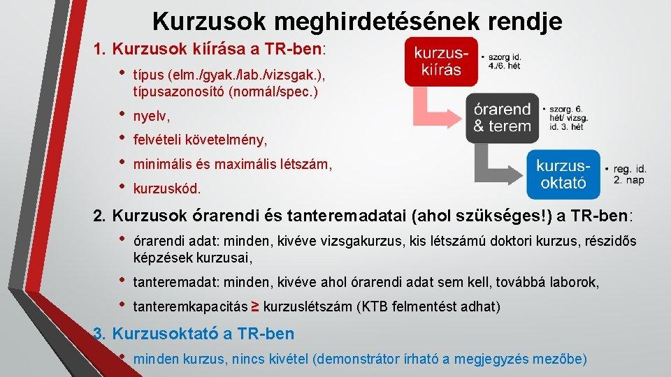 Kurzusok meghirdetésének rendje 1. Kurzusok kiírása a TR-ben: • típus (elm. /gyak. /lab. /vizsgak.