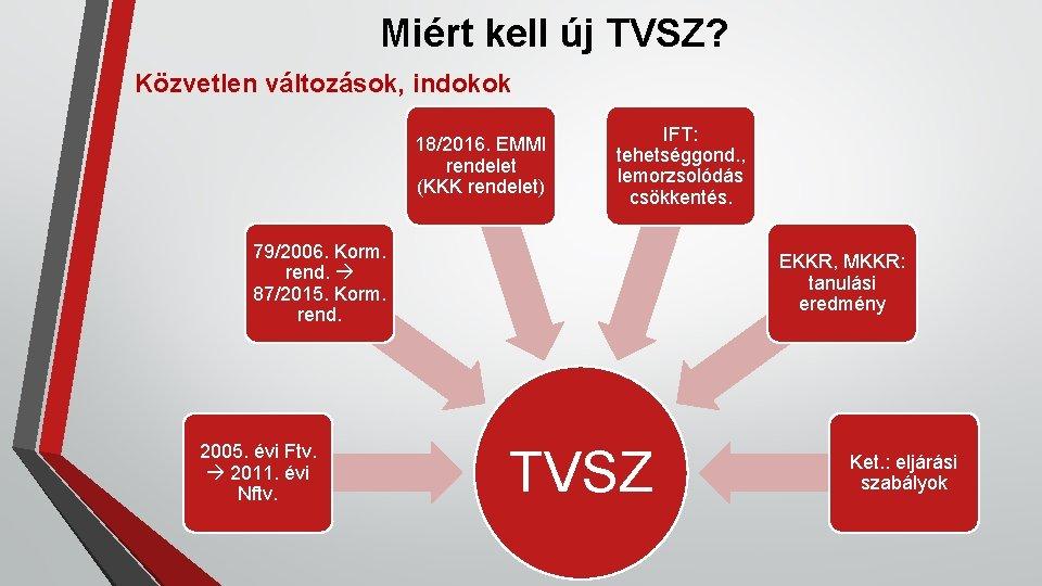 Miért kell új TVSZ? Közvetlen változások, indokok 18/2016. EMMI rendelet (KKK rendelet) IFT: tehetséggond.